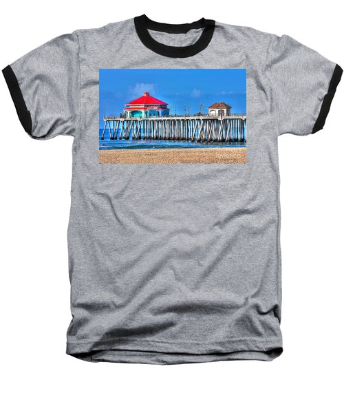 Ruby's Surf City Diner - Huntington Beach Pier Baseball T-Shirt by Jim Carrell
