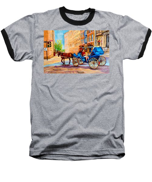 Baseball T-Shirt featuring the painting Rue Notre Dame Caleche Ride by Carole Spandau