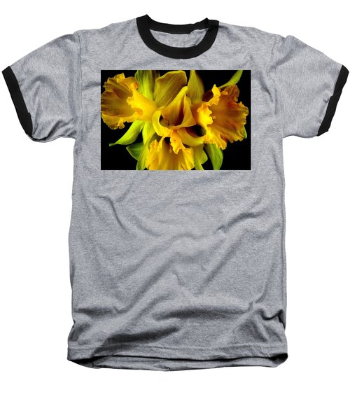 Ruffled Daffodils Baseball T-Shirt by Marianne Dow