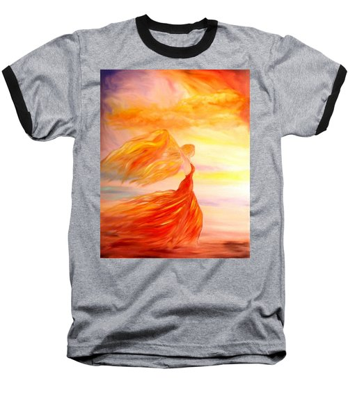 Baseball T-Shirt featuring the painting Running Along The Beach by Lilia D