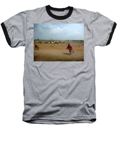 Running Boy Baseball T-Shirt by Debi Demetrion