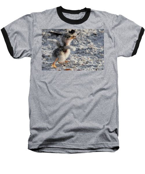 Running Free - Least Tern Baseball T-Shirt by Meg Rousher