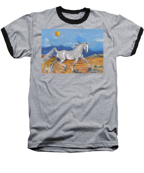 Baseball T-Shirt featuring the digital art Running Horse M by Mary Armstrong