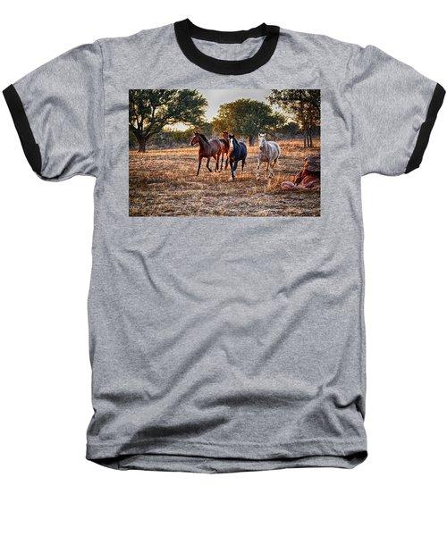 Running Horses Baseball T-Shirt
