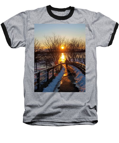 Running In Sunset Baseball T-Shirt by Paul Ge
