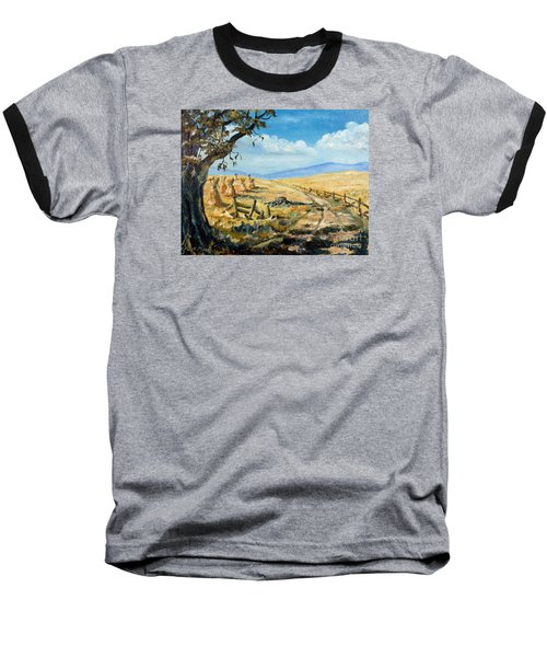 Rural Farmland Americana Folk Art Autumn Harvest Ranch Baseball T-Shirt