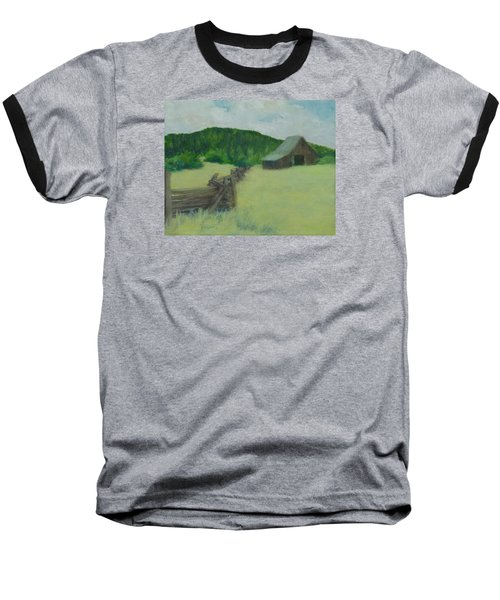 Rural Landscape Colorful Oil Painting Barn Fence Baseball T-Shirt by Elizabeth Sawyer