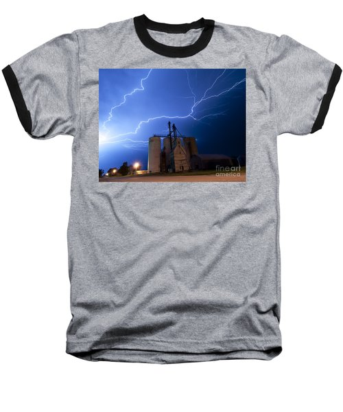 Rural Lightning Storm Baseball T-Shirt