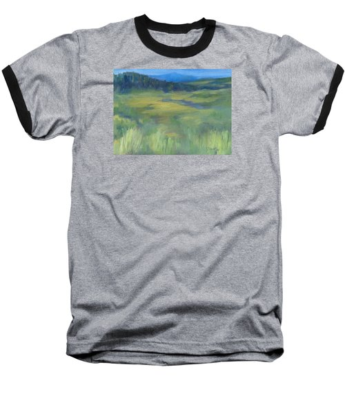 Rural Valley Landscape Colorful Original Painting Washington State Water Mountains K. Joann Russell Baseball T-Shirt by Elizabeth Sawyer