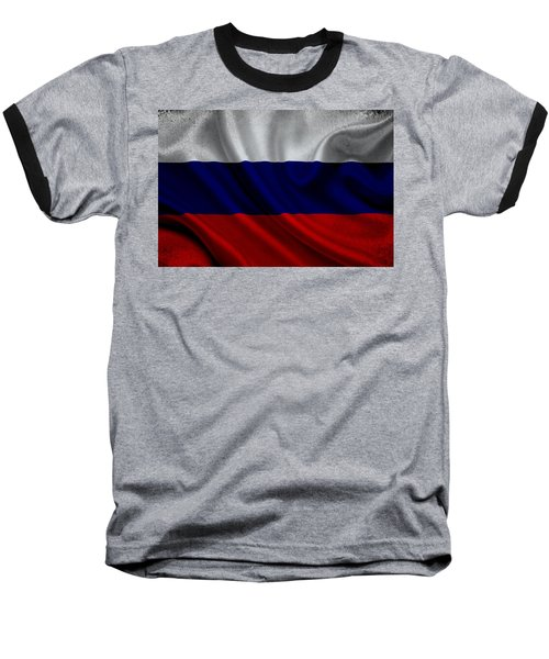 Russian Flag Waving On Canvas Baseball T-Shirt by Eti Reid