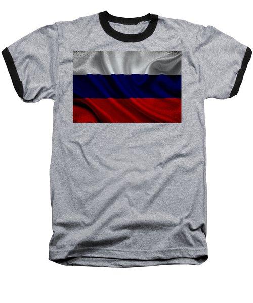 Russian Flag Waving On Canvas Baseball T-Shirt