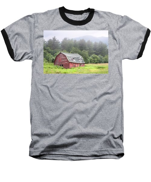 Rustic Landscape - Red Barn - Old Barn And Mountains Baseball T-Shirt