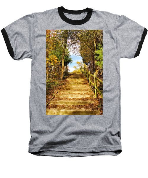 Rustic Stairway Baseball T-Shirt by Jean Goodwin Brooks