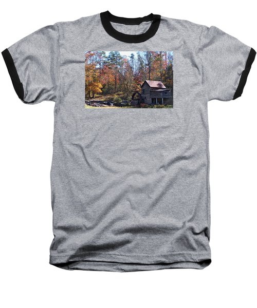 Rustic Water Mill In Autumn Baseball T-Shirt by William Tanneberger