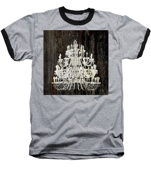 Baseball T-Shirt featuring the photograph Rustic Shabby Chic White Chandelier On Wood by Suzanne Powers