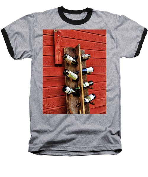 Rustic Wine Rack Baseball T-Shirt by Jean Goodwin Brooks