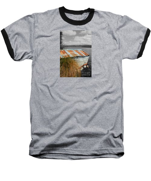 Rusty Boatshed On Lake. Baseball T-Shirt by Nareeta Martin
