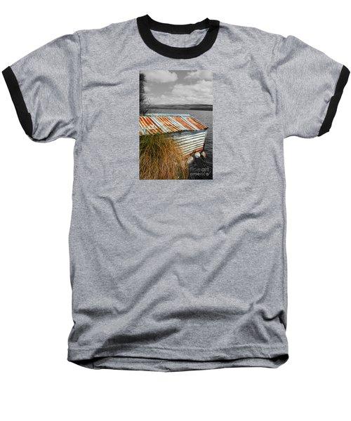 Baseball T-Shirt featuring the photograph Rusty Boatshed On Lake. by Nareeta Martin