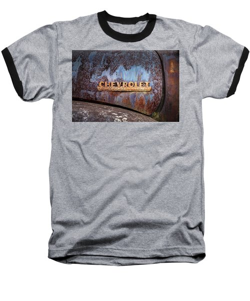 Baseball T-Shirt featuring the photograph Rusty Chevrolet - Nameplate - Old Chevy Sign by Gary Heller