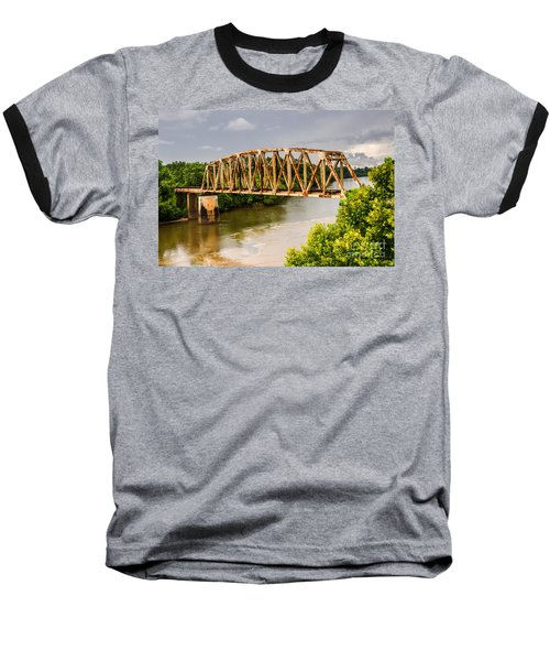 Rusty Old Railroad Bridge Baseball T-Shirt by Sue Smith