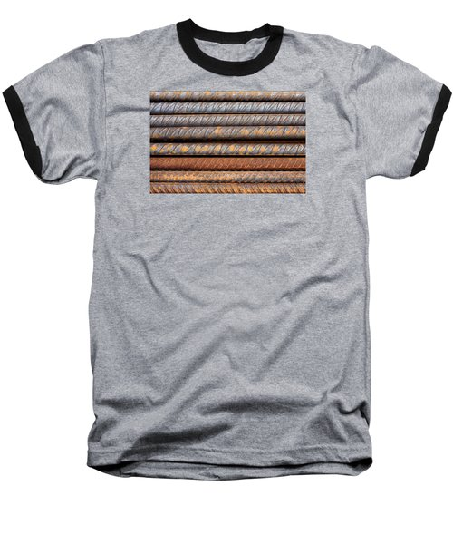 Rusty Rebar Rods Metallic Pattern Baseball T-Shirt