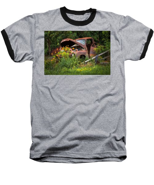 Rusty Truck Flower Bed - Charming Rustic Country Baseball T-Shirt