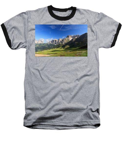 Saas Pordoi And Fassa Valley Baseball T-Shirt
