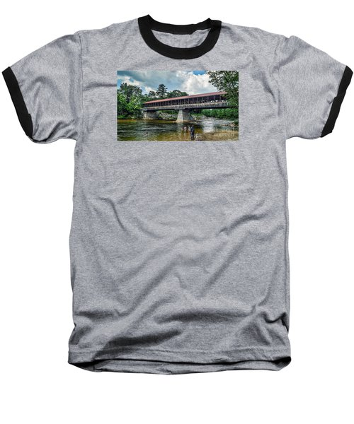 Baseball T-Shirt featuring the photograph Saco River Covered Bridge  by Debbie Green