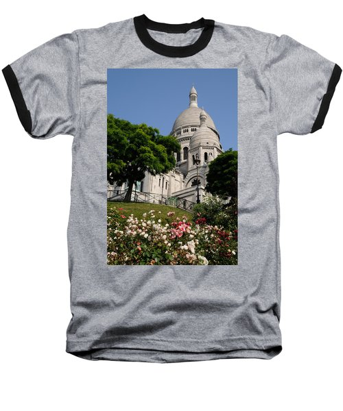 Sacre Coeur Flowers Baseball T-Shirt by Jeremy Voisey