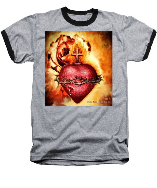 Sacred Heart Of Jesus Christ With Rose Baseball T-Shirt