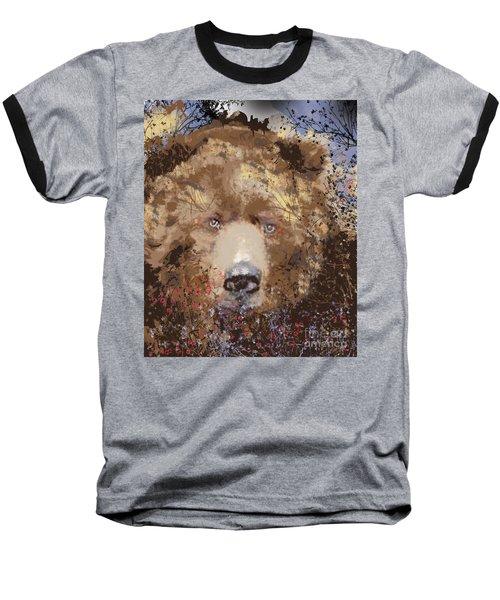 Baseball T-Shirt featuring the digital art Sad Brown Bear by Kim Prowse