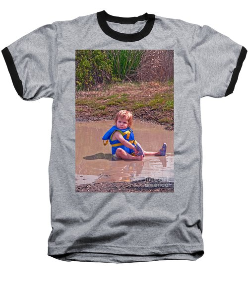 Safety Is Important - Toddler In Mudpuddle Art Prints Baseball T-Shirt by Valerie Garner