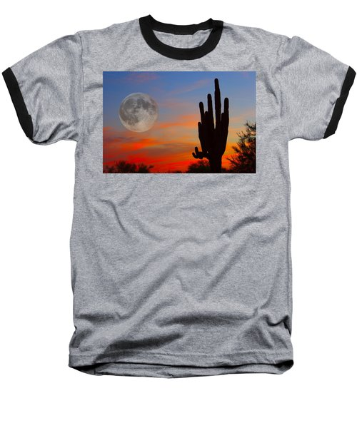 Saguaro Full Moon Sunset Baseball T-Shirt
