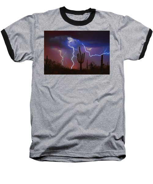 Saguaro Lightning Nature Fine Art Photograph Baseball T-Shirt