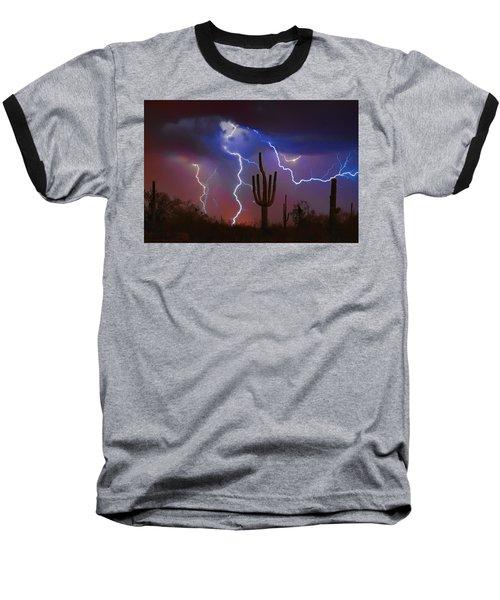 Saguaro Lightning Nature Fine Art Photograph Baseball T-Shirt