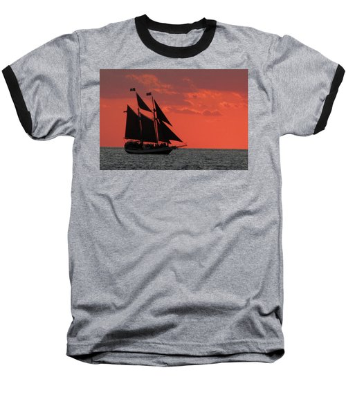 Key West Sunset Sail 5 Baseball T-Shirt