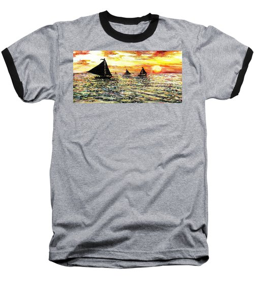 Baseball T-Shirt featuring the painting Sail Away With Me by Shana Rowe Jackson