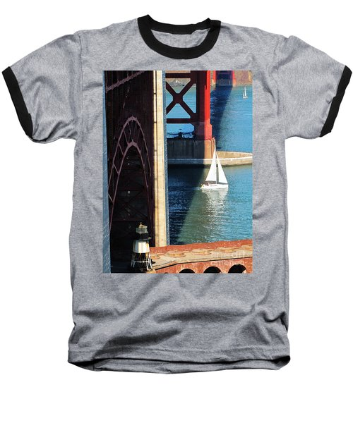 Sail Boat Passes Beneath The Golden Gate Bridge Baseball T-Shirt