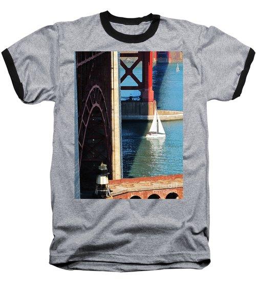 Sail Boat Passes Beneath The Golden Gate Bridge Baseball T-Shirt
