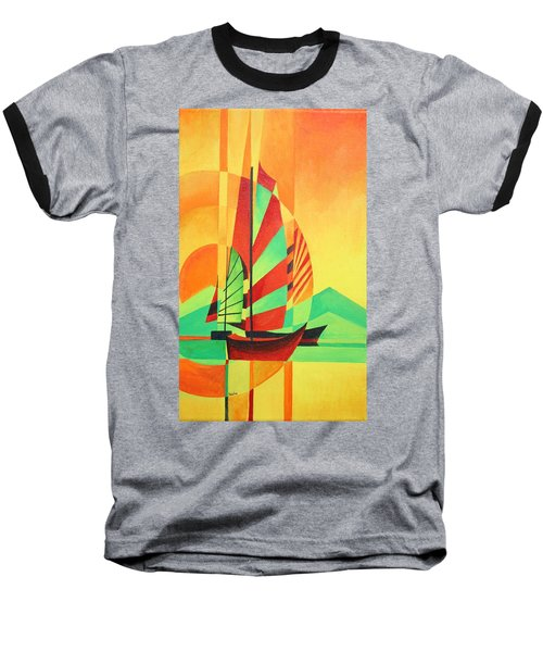 Baseball T-Shirt featuring the painting Sail To Shore by Tracey Harrington-Simpson