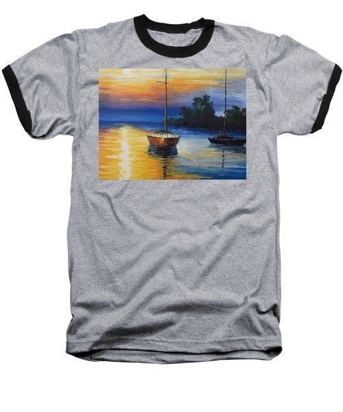 Sailboat At Sunset Baseball T-Shirt