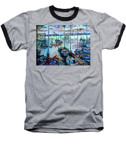 Sailboat Harbor Baseball T-Shirt
