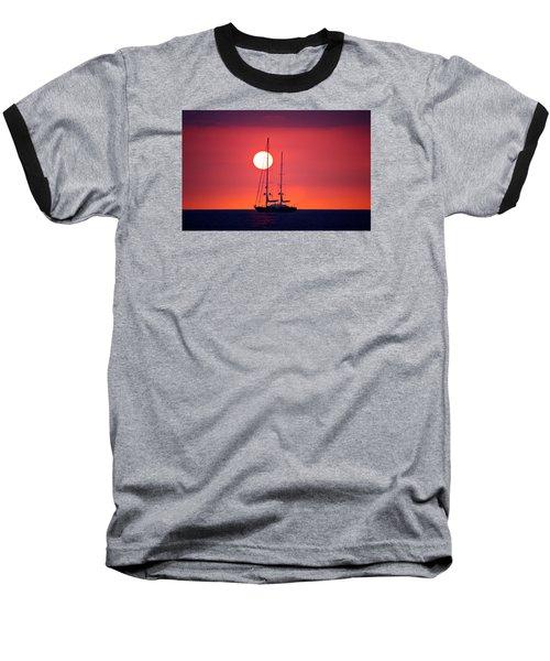 Sailboat Sunset Baseball T-Shirt