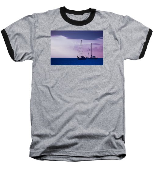 Baseball T-Shirt featuring the photograph Sailboats At Sunset by Don Schwartz