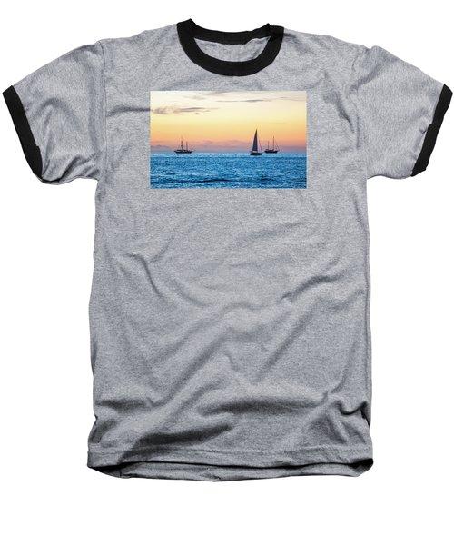 Sailboats At Sunset Off Key West Florida Baseball T-Shirt by Photographic Arts And Design Studio