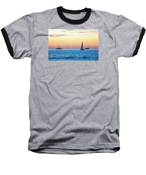Sailboats At Sunset Off Key West Florida Baseball T-Shirt