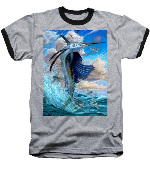 Sailfish And Flying Fish Baseball T-Shirt