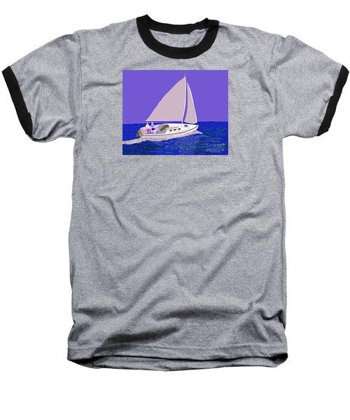 Sailing Blue Ocean Baseball T-Shirt by Fred Jinkins