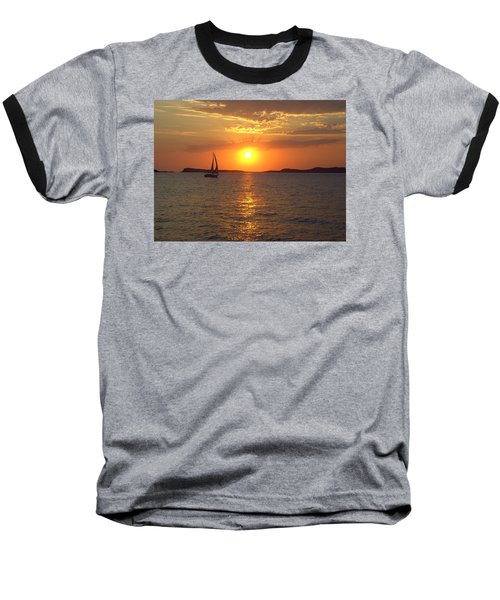 Sailing Boat In Ibiza Sunset Baseball T-Shirt