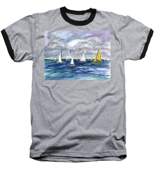Sailing Day Baseball T-Shirt by Clara Sue Beym